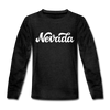 Nevada Youth Long Sleeve Shirt - Hand Lettered Youth Long Sleeve Nevada Tee - charcoal gray