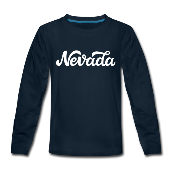 Nevada Youth Long Sleeve Shirt - Hand Lettered Youth Long Sleeve Nevada Tee - deep navy