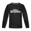 New Hampshire Youth Long Sleeve Shirt - Hand Lettered Youth Long Sleeve New Hampshire Tee - black