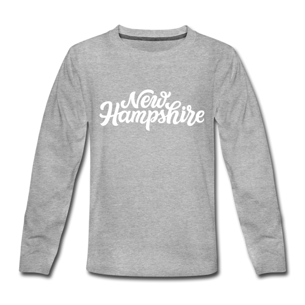New Hampshire Youth Long Sleeve Shirt - Hand Lettered Youth Long Sleeve New Hampshire Tee - heather gray