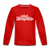 New Hampshire Youth Long Sleeve Shirt - Hand Lettered Youth Long Sleeve New Hampshire Tee - red