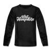 New Hampshire Youth Long Sleeve Shirt - Hand Lettered Youth Long Sleeve New Hampshire Tee - charcoal gray