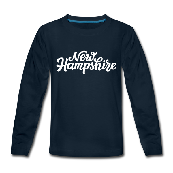 New Hampshire Youth Long Sleeve Shirt - Hand Lettered Youth Long Sleeve New Hampshire Tee - deep navy