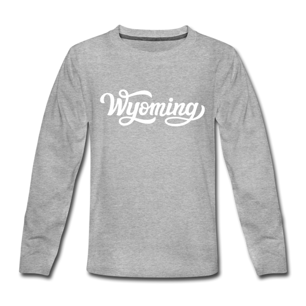 Wyoming Youth Long Sleeve Shirt - Hand Lettered Youth Long Sleeve Wyoming Tee - heather gray