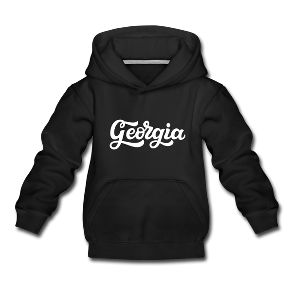 Georgia Youth Hoodie - Hand Lettered Youth Georgia Hooded Sweatshirt - black