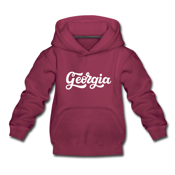 Georgia Youth Hoodie - Hand Lettered Youth Georgia Hooded Sweatshirt - burgundy