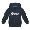 Georgia Youth Hoodie - Hand Lettered Youth Georgia Hooded Sweatshirt - navy