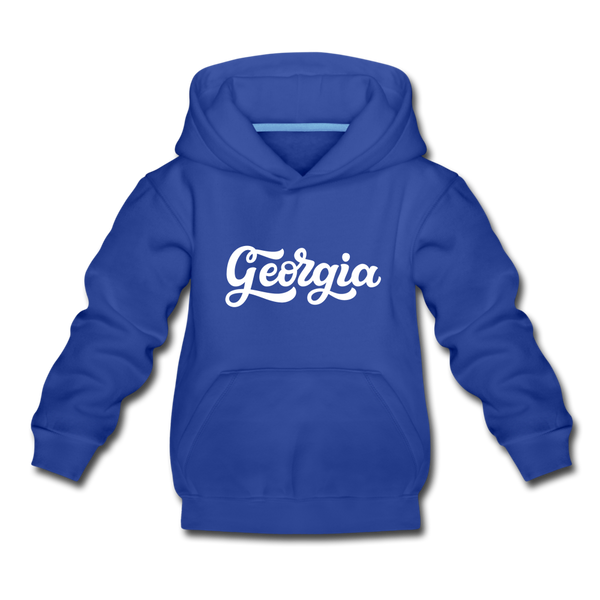 Georgia Youth Hoodie - Hand Lettered Youth Georgia Hooded Sweatshirt - royal blue