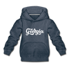 Georgia Youth Hoodie - Hand Lettered Youth Georgia Hooded Sweatshirt - heather denim
