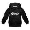 Georgia Youth Hoodie - Hand Lettered Youth Georgia Hooded Sweatshirt - charcoal gray