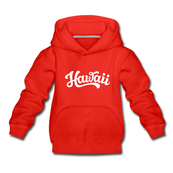 Hawaii Youth Hoodie - Hand Lettered Youth Hawaii Hooded Sweatshirt - red