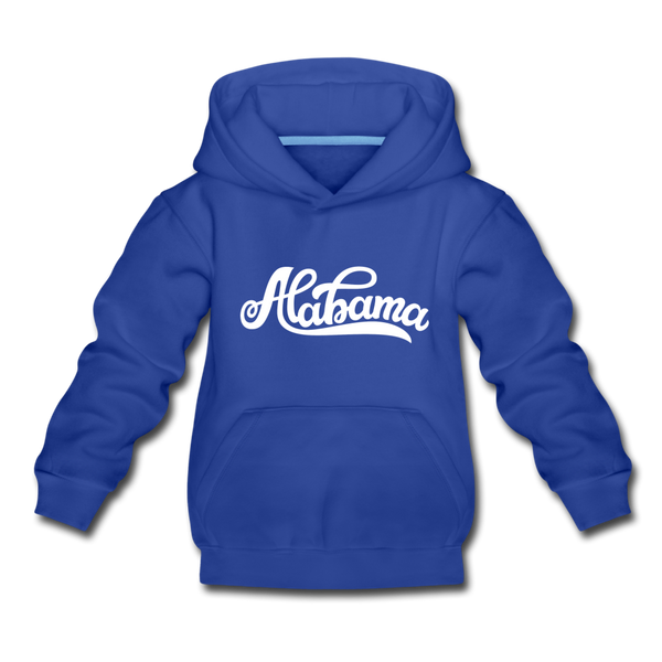 Alabama Youth Hoodie - Hand Lettered Youth Alabama Hooded Sweatshirt - royal blue
