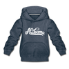 Alabama Youth Hoodie - Hand Lettered Youth Alabama Hooded Sweatshirt - heather denim