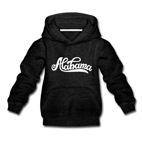 Alabama Youth Hoodie - Hand Lettered Youth Alabama Hooded Sweatshirt - charcoal gray