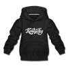 Kentucky Youth Hoodie - Hand Lettered Youth Kentucky Hooded Sweatshirt - black