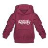 Kentucky Youth Hoodie - Hand Lettered Youth Kentucky Hooded Sweatshirt - burgundy