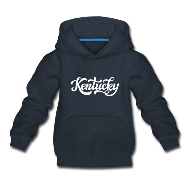 Kentucky Youth Hoodie - Hand Lettered Youth Kentucky Hooded Sweatshirt - navy