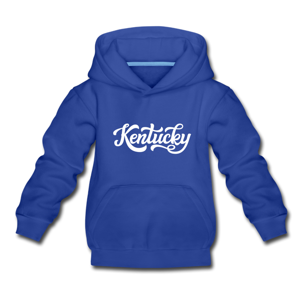 Kentucky Youth Hoodie - Hand Lettered Youth Kentucky Hooded Sweatshirt - royal blue