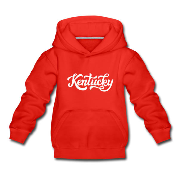 Kentucky Youth Hoodie - Hand Lettered Youth Kentucky Hooded Sweatshirt - red