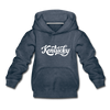 Kentucky Youth Hoodie - Hand Lettered Youth Kentucky Hooded Sweatshirt - heather denim