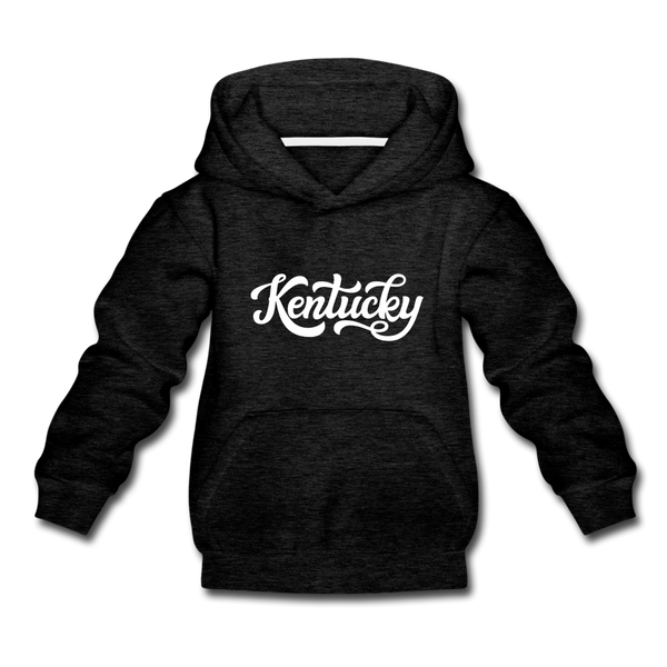 Kentucky Youth Hoodie - Hand Lettered Youth Kentucky Hooded Sweatshirt - charcoal gray