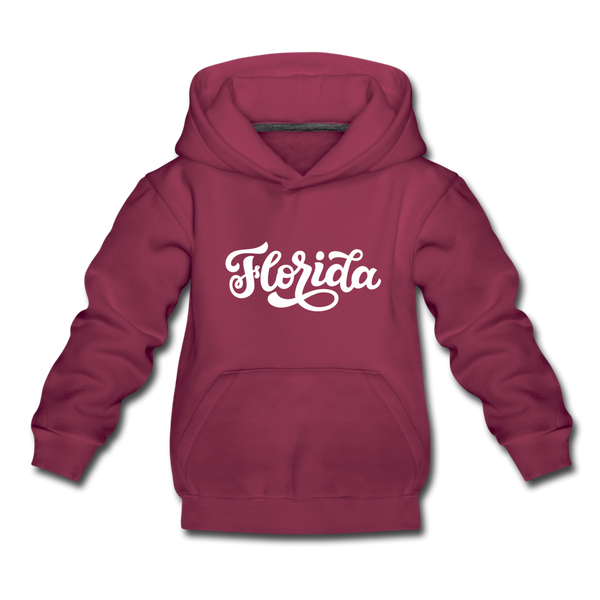 Florida Youth Hoodie - Hand Lettered Youth Florida Hooded Sweatshirt - burgundy