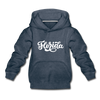 Florida Youth Hoodie - Hand Lettered Youth Florida Hooded Sweatshirt - heather denim