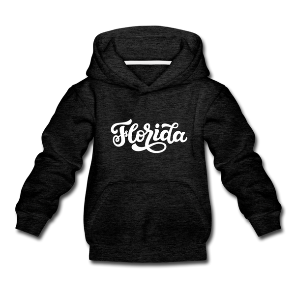 Florida Youth Hoodie - Hand Lettered Youth Florida Hooded Sweatshirt - charcoal gray