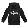 Kansas Youth Hoodie - Hand Lettered Youth Kansas Hooded Sweatshirt - black