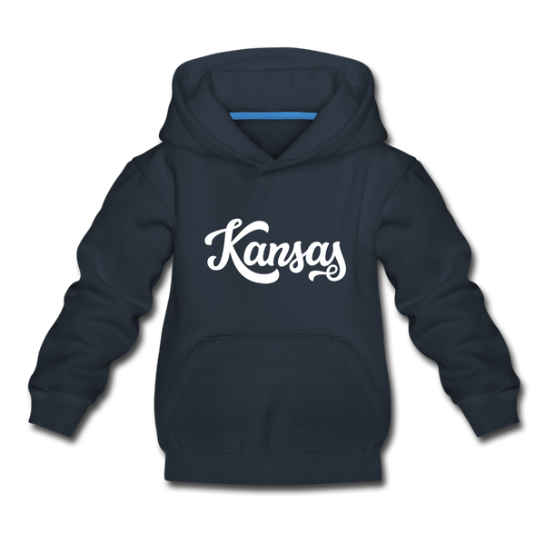 Kansas Youth Hoodie - Hand Lettered Youth Kansas Hooded Sweatshirt - navy