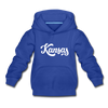 Kansas Youth Hoodie - Hand Lettered Youth Kansas Hooded Sweatshirt - royal blue