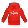 Kansas Youth Hoodie - Hand Lettered Youth Kansas Hooded Sweatshirt - red