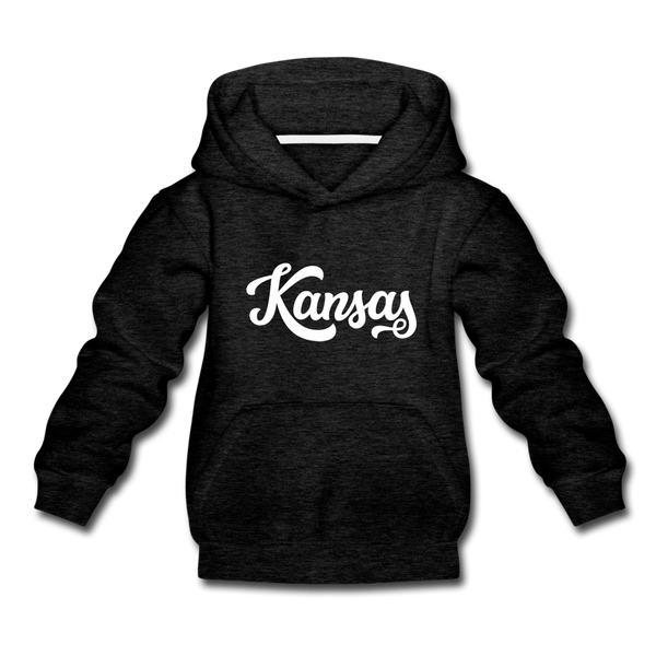Kansas Youth Hoodie - Hand Lettered Youth Kansas Hooded Sweatshirt - charcoal gray