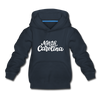 North Carolina Youth Hoodie - Hand Lettered Youth North Carolina Hooded Sweatshirt - navy