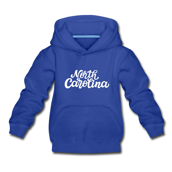 North Carolina Youth Hoodie - Hand Lettered Youth North Carolina Hooded Sweatshirt - royal blue