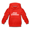 North Carolina Youth Hoodie - Hand Lettered Youth North Carolina Hooded Sweatshirt - red