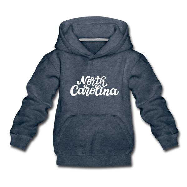 North Carolina Youth Hoodie - Hand Lettered Youth North Carolina Hooded Sweatshirt - heather denim