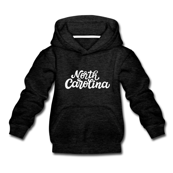 North Carolina Youth Hoodie - Hand Lettered Youth North Carolina Hooded Sweatshirt - charcoal gray