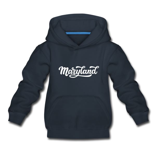 Maryland Youth Hoodie - Hand Lettered Youth Maryland Hooded Sweatshirt - navy
