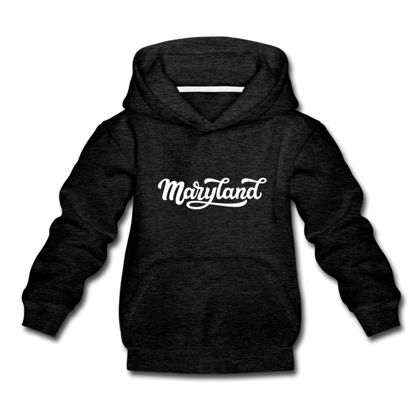 Maryland Youth Hoodie - Hand Lettered Youth Maryland Hooded Sweatshirt - charcoal gray