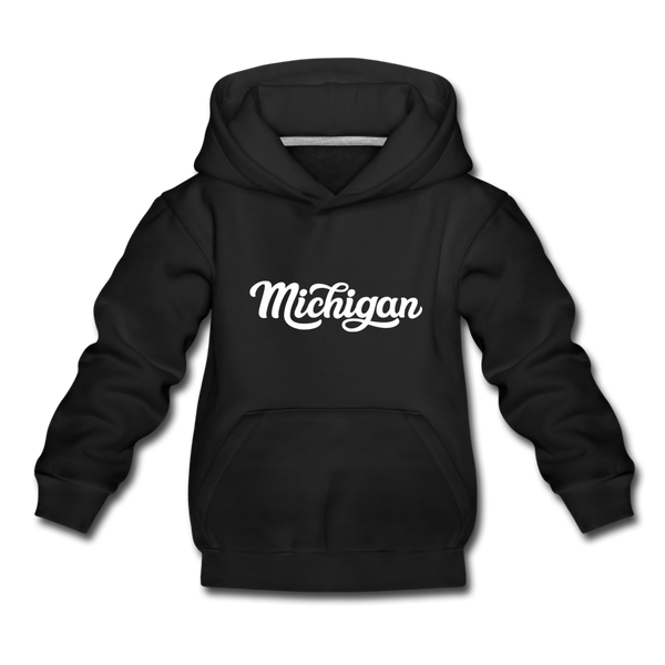 Michigan Youth Hoodie - Hand Lettered Youth Michigan Hooded Sweatshirt - black