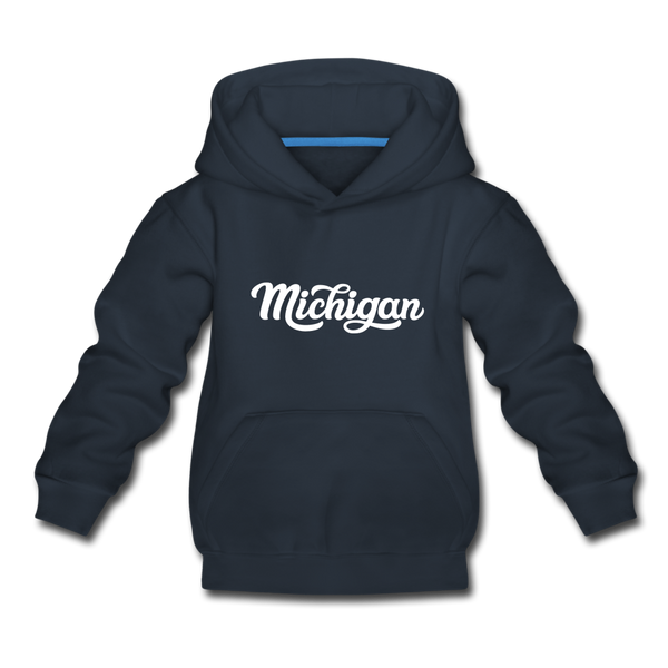 Michigan Youth Hoodie - Hand Lettered Youth Michigan Hooded Sweatshirt - navy