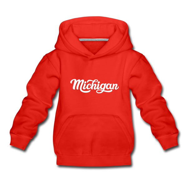 Michigan Youth Hoodie - Hand Lettered Youth Michigan Hooded Sweatshirt - red