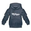 Michigan Youth Hoodie - Hand Lettered Youth Michigan Hooded Sweatshirt - heather denim