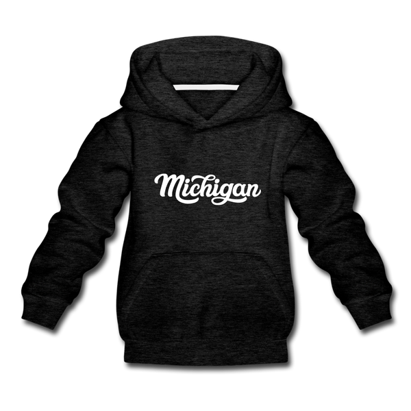Michigan Youth Hoodie - Hand Lettered Youth Michigan Hooded Sweatshirt - charcoal gray