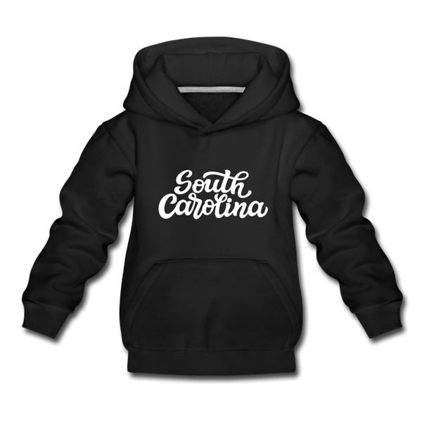 South Carolina Youth Hoodie - Hand Lettered Youth South Carolina Hooded Sweatshirt - black