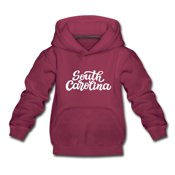South Carolina Youth Hoodie - Hand Lettered Youth South Carolina Hooded Sweatshirt - burgundy
