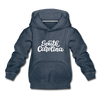 South Carolina Youth Hoodie - Hand Lettered Youth South Carolina Hooded Sweatshirt - heather denim
