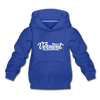 Vermont Youth Hoodie - Hand Lettered Youth Vermont Hooded Sweatshirt - royal blue
