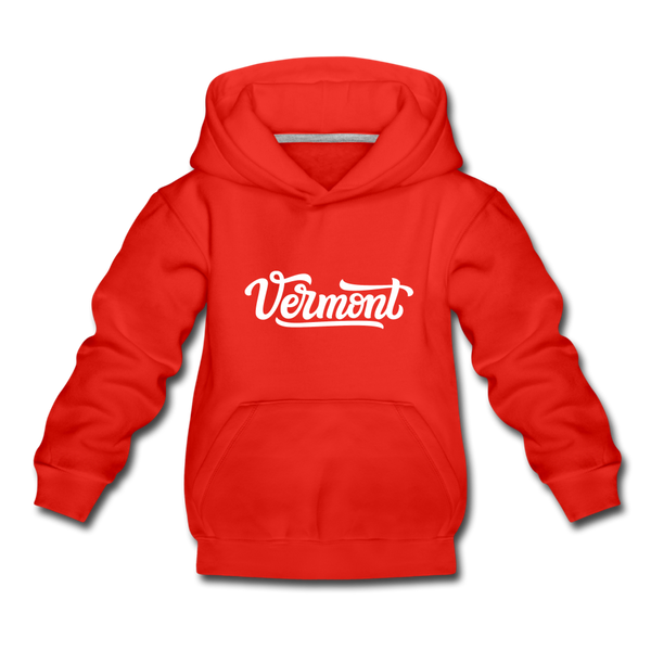 Vermont Youth Hoodie - Hand Lettered Youth Vermont Hooded Sweatshirt - red